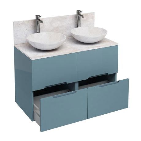 Aqua Cabinets - D1000 Floor Standing Double Drawer Unit with Two Marble Round Basins - Ocean