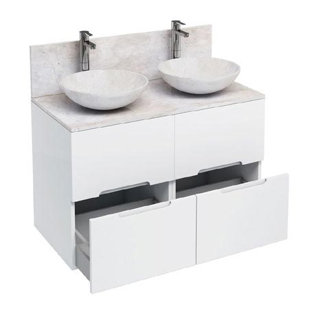 Aqua Cabinets - D1000 Floor Standing Double Drawer Unit with Two Marble Round Basins - White