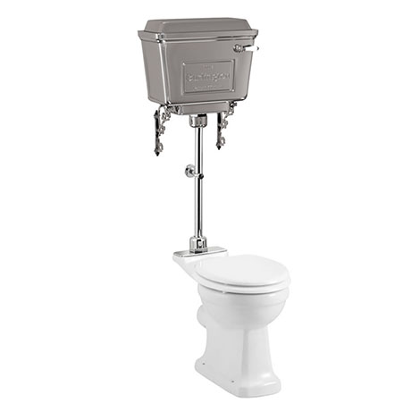 Burlington Rimless Medium Level WC with Aluminium Lever Cistern