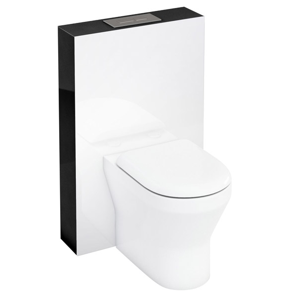 Aqua Cabinets - W550 x D150mm Tablet BTW WC unit with pan, cistern & flush plate - Black Large Image