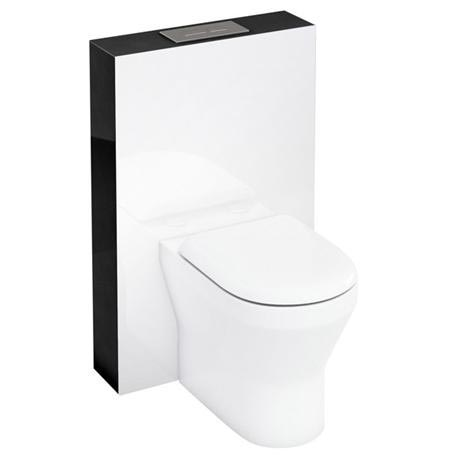 Aqua Cabinets - W550 x D150mm Tablet BTW WC unit with pan, cistern & flush plate - Black