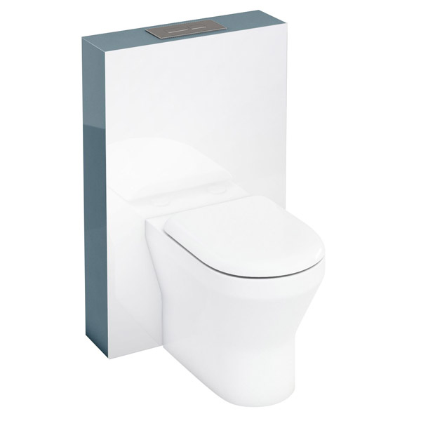 Aqua Cabinets - W550 x D150mm Tablet BTW WC unit with pan, cistern & flush plate - Ocean Large Image
