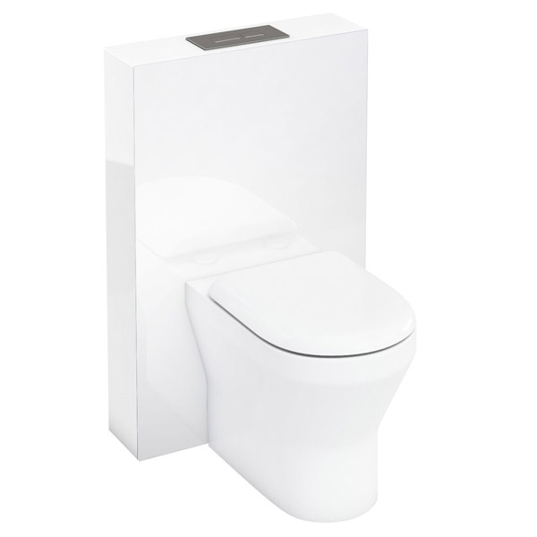 Aqua Cabinets - W550 x D150mm Tablet BTW WC unit with pan, cistern & flush plate - White Large Image