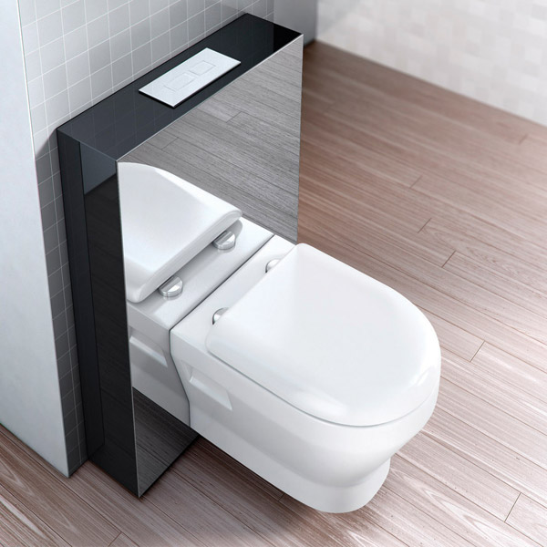 Aqua Cabinets - W550 x D150mm Tablet Wall Hung WC unit with pan, cistern & flush plate - Black Profile Large Image