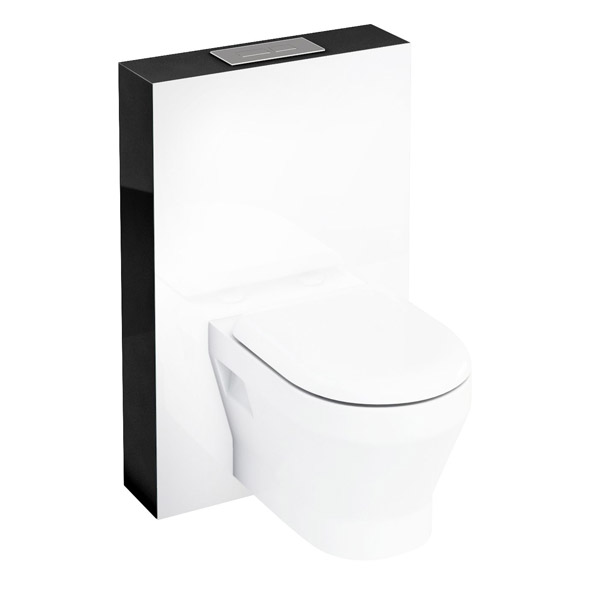Aqua Cabinets - W550 x D150mm Tablet Wall Hung WC unit with pan, cistern & flush plate - Black Large Image