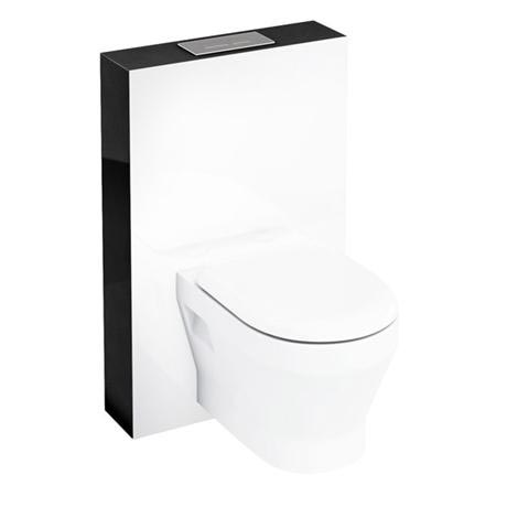 Aqua Cabinets - W550 x D150mm Tablet Wall Hung WC unit with pan, cistern & flush plate - Black