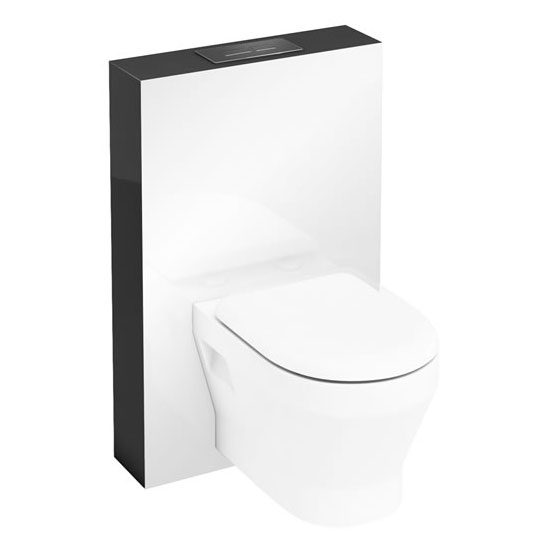 Aqua Cabinets - W550 x D150mm Tablet Wall Hung WC unit with pan, cistern & flush plate - Anthracite Grey Large Image