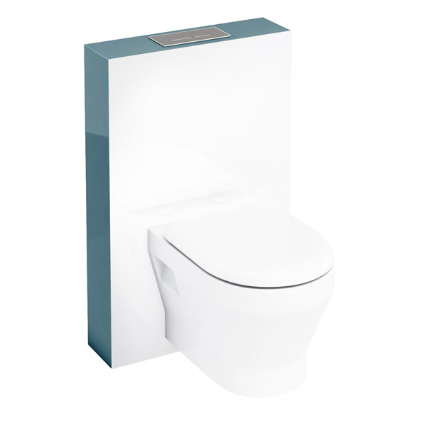 Aqua Cabinets - W550 x D150mm Tablet Wall Hung WC unit with pan, cistern & flush plate - Ocean Large Image