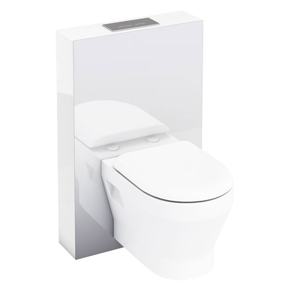 Aqua Cabinets - W550 x D150mm Tablet Wall Hung WC unit with pan, cistern & flush plate - White Large Image