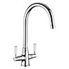 Rangemaster Aquaclassic 2 Chrome Kitchen Mixer Tap with White Handles profile small image view 1
