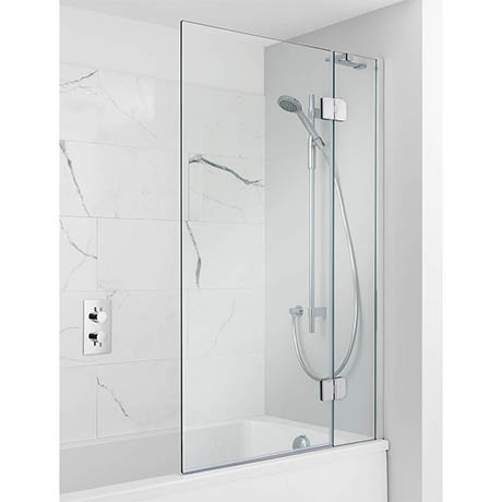 Simpsons Ten Hinged Bath Screen with Fixed Panel - 900mm