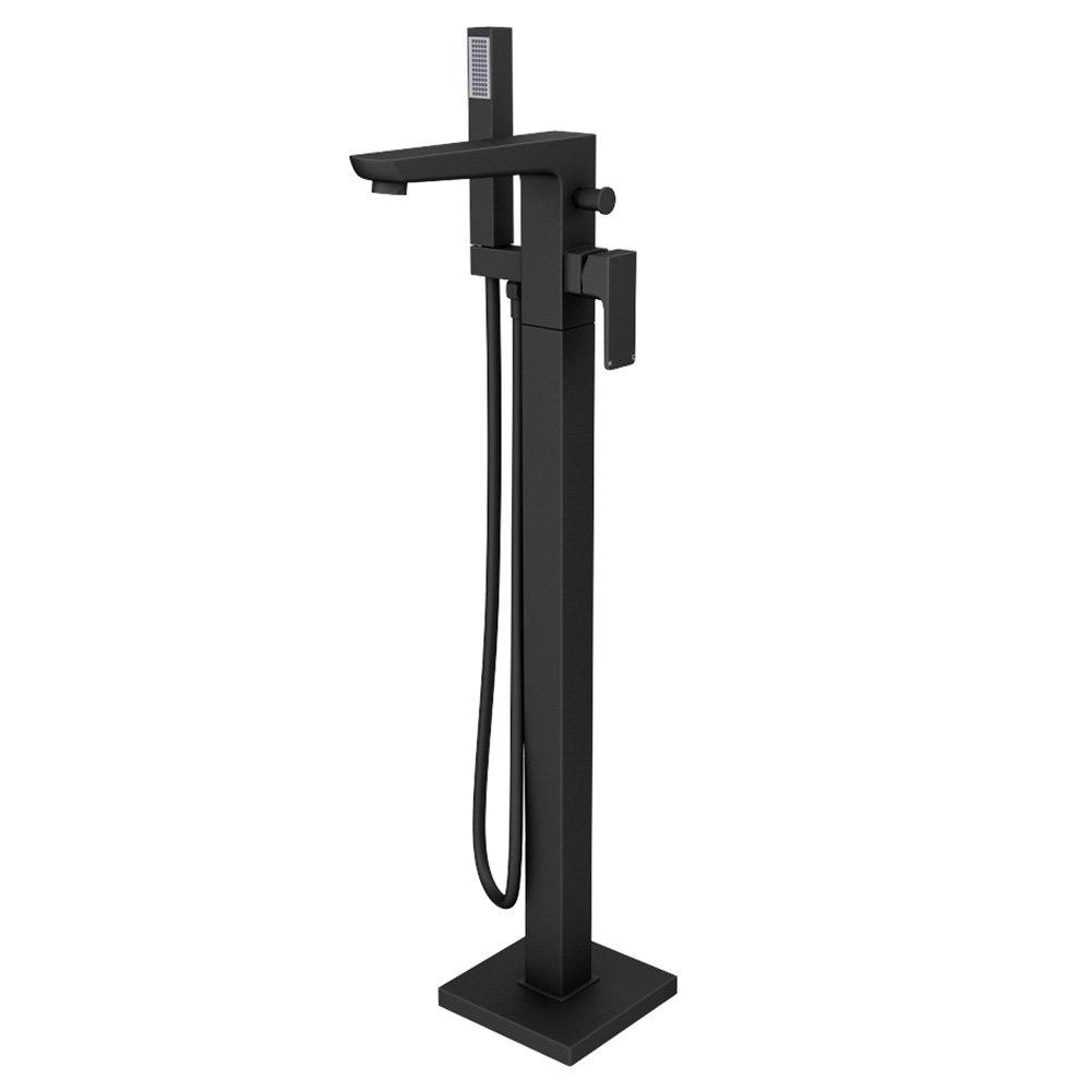 Toreno Modern Matt Black Floor Mounted Free-standing Bath Shower Mixer