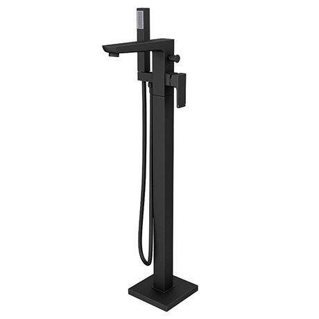 Turin Modern Matt Black Floor Mounted Free-standing Bath Shower Mixer