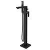 Turin Modern Matt Black Floor Mounted Free-standing Bath Shower Mixer profile small image view 1