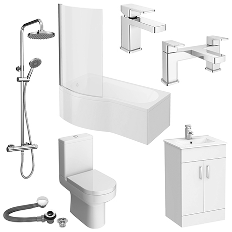 Turin B-Shaped Complete Traditional Bathroom Package