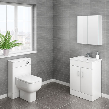 Turin Cloakroom Suite Inc. Pro 600 Toilet (White Gloss)