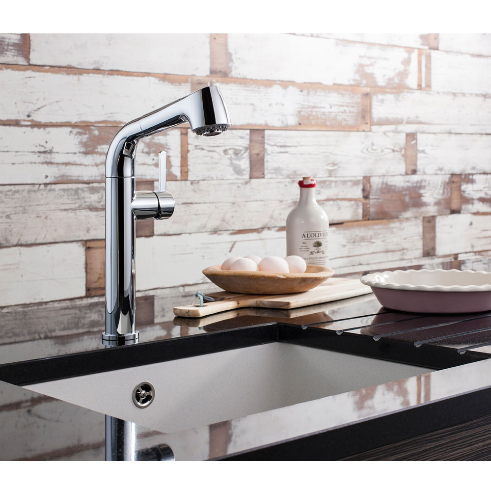 Crosswater - Cucina Tempo Side Lever Kitchen Mixer with Pull Out Spray - Chrome - TE718DC Profile Large Image