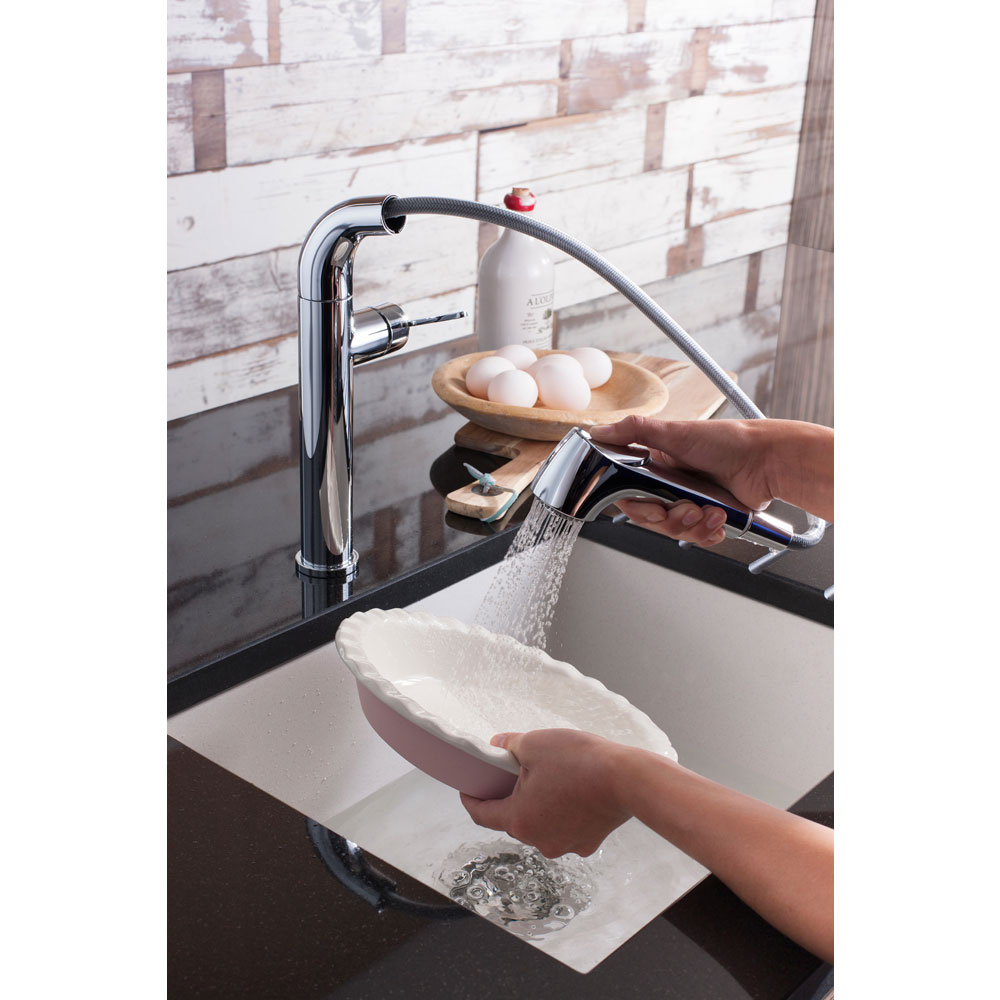 Crosswater - Cucina Tempo Side Lever Kitchen Mixer with Pull Out Spray - Chrome - TE718DC Feature Large Image
