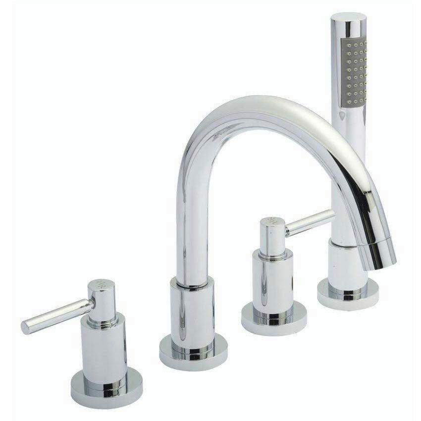Hudson Reed - Tec Lever 4 Tap Hole Bath Mixer with swivel spout, shower kit & hose retainer Large Image