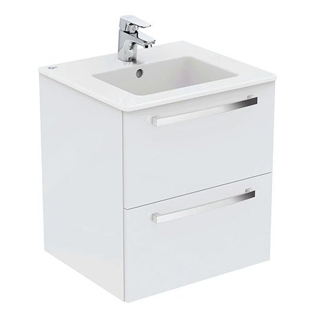 Ideal Standard Tempo 500mm Gloss White 2 Drawer Wall Hung Vanity Unit