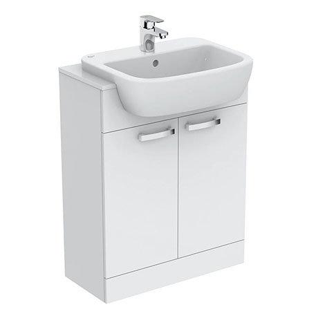 Ideal Standard Tempo 650mm Gloss White Vanity Unit - Floor Standing 2 Door Unit
