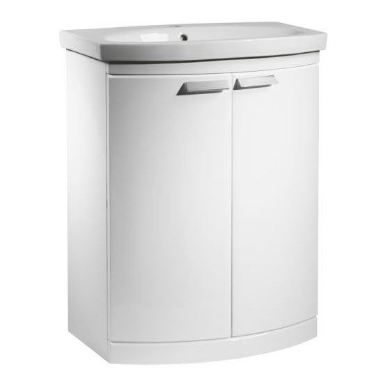 Tavistock Tempo 650mm Freestanding Unit & Basin - Gloss White Large Image