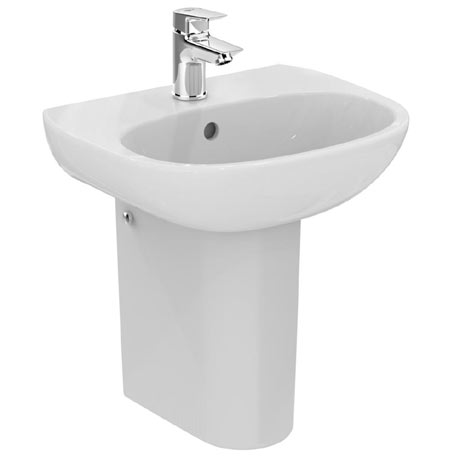 Ideal Standard Tesi 45cm 1TH Handrinse Washbasin & Semi Pedestal