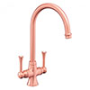 Rangemaster Brushed Copper Estuary Dual Lever Kitchen Tap - TES1BC profile small image view 1