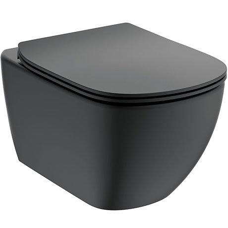 Ideal Standard Tesi Silk Black AquaBlade Wall Hung WC + Soft Close Seat