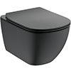 Ideal Standard Tesi Silk Black AquaBlade Wall Hung WC + Soft Close Seat profile small image view 1