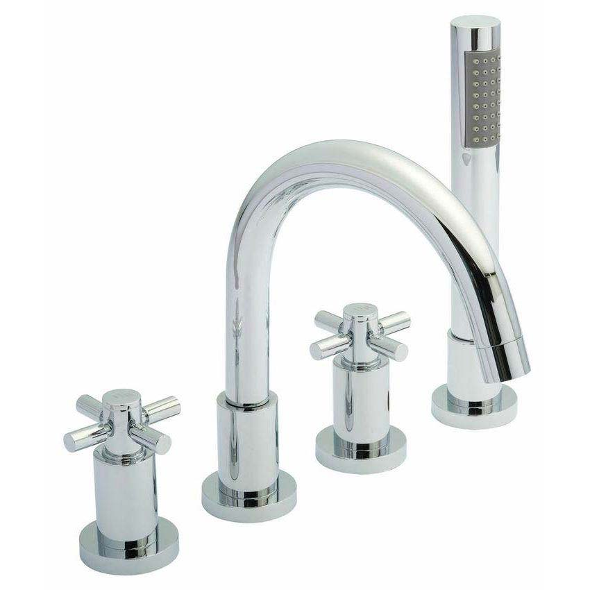 Hudson Reed - Tec Crosshead 4 Tap Hole Bath Mixer with swivel spout, shower kit & hose retainer Larg