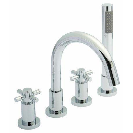 Hudson Reed - Tec Crosshead 4 Tap Hole Bath Mixer with swivel spout, shower kit & hose retainer