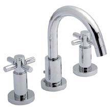 Hudson Reed - Tec Crosshead 3 Tap Hole Basin Mixer with swivel spout & pop up waste - TEX337 Medium Image