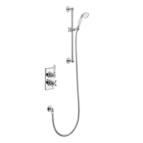 Burlington Medici Trent Thermostatic Concealed Single Outlet Shower Valve with Slide Rail, Hose & Ha