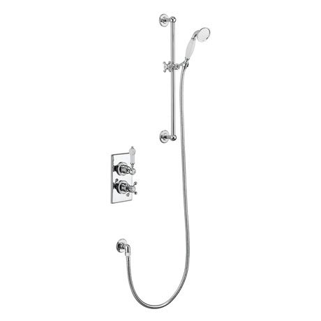 Burlington Trent Thermostatic Concealed Single Outlet Shower Valve with Slide Rail, Hose & Handset