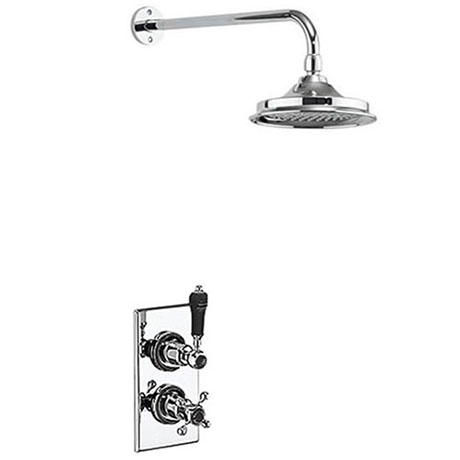 """Burlington Trent Black Thermostatic Concealed Single Outlet Shower Valve with 6"""" Fixed Head"""