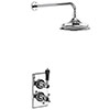 """Burlington Trent Black Thermostatic Concealed Single Outlet Shower Valve with 6"""" Fixed Head profile small image view 1"""