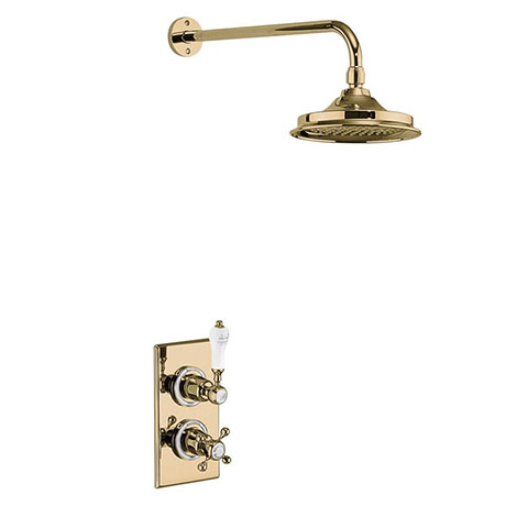 """Burlington Trent Gold Thermostatic Concealed Single Outlet Shower Valve with 9"""" Fixed Head"""