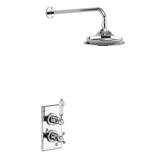 Burlington Trent Thermostatic Concealed Single Outlet Shower Valve with Fixed Head Large Image