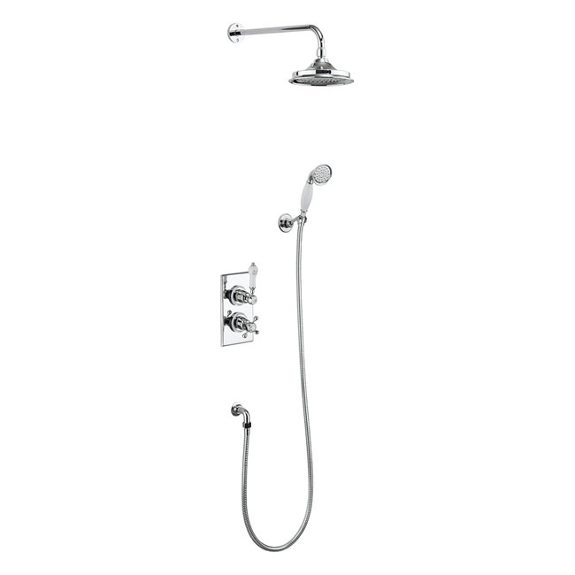 Burlington Trent Thermostatic Concealed Two Outlet Diverter Shower Valve, Hose & Handset with Fixed Shower Head profile large image view 1