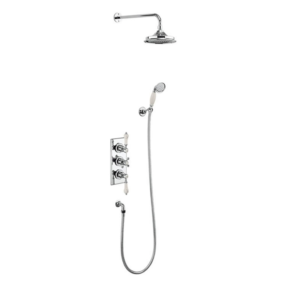 Burlington Medici Trent Thermostatic Concealed Two Outlet Shower Valve, Hose & Handset with Fixed Head