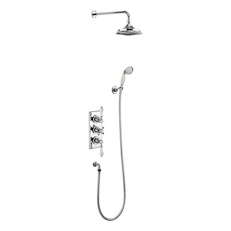 Burlington Medici Trent Thermostatic Concealed Two Outlet Shower Valve, Hose & Handset with Fixed He