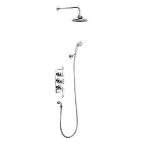 Burlington Trent Thermostatic Concealed Two Outlet Shower Valve, Hose & Handset with Fixed Head