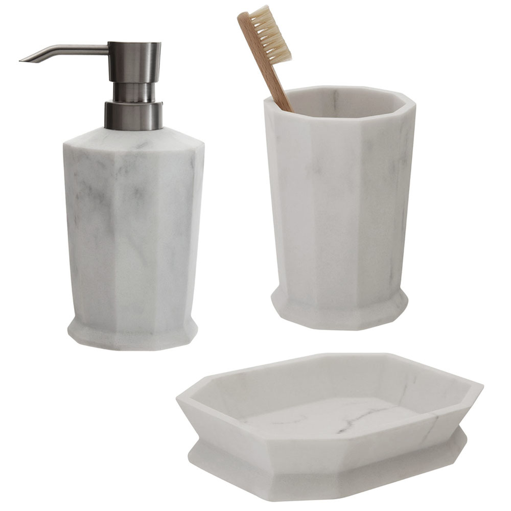 The Trafalgar Grey Marble Effect Polyresin Bathroom Accessories Set
