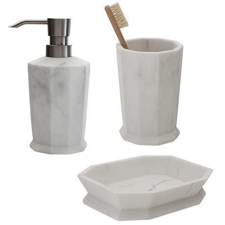 Trafalgar Grey Marble Effect Polyresin Bathroom Accessories Set
