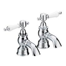 Heritage - Glastonbury Bath Pillar Taps - Chrome - TGRC01 Medium Image
