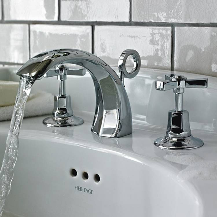 Heritage - Gracechurch 3 Hole Basin Mixer with Pop-up Waste - TGRDC06 profile large image view 2