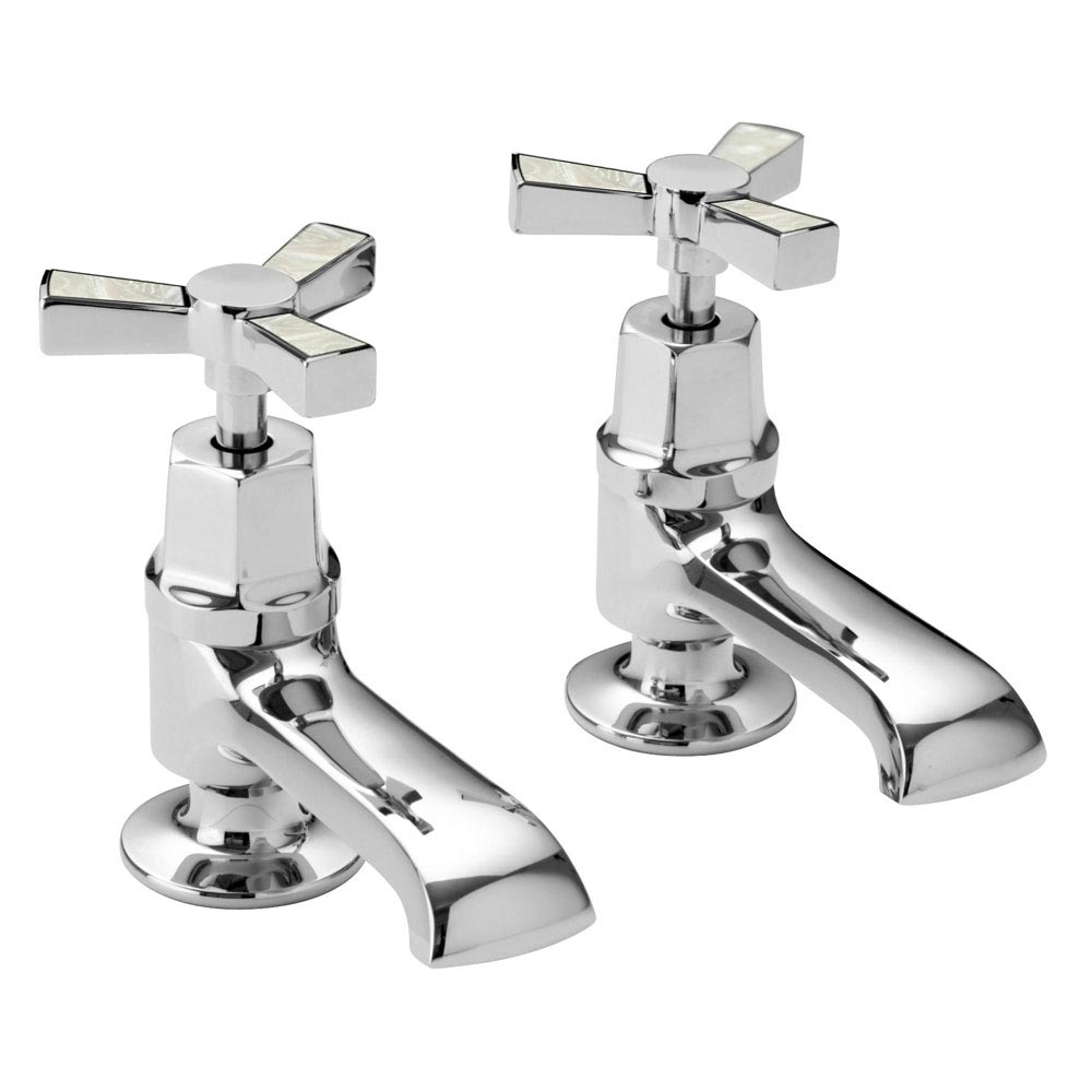 Heritage Gracechurch Mother of Pearl Basin Pillar Taps - TGRDMOP00 profile large image view 1