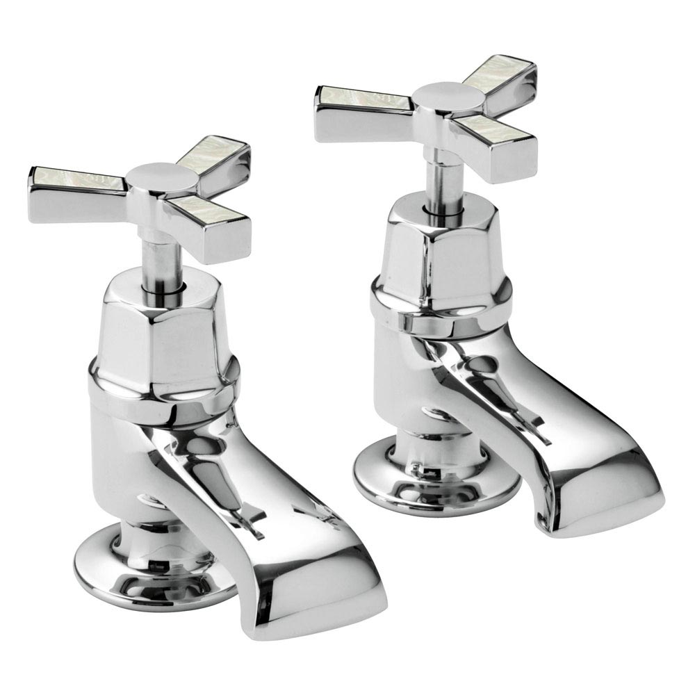 Heritage Gracechurch Mother of Pearl Bath Pillar Taps - TGRDMOP01 Large Image