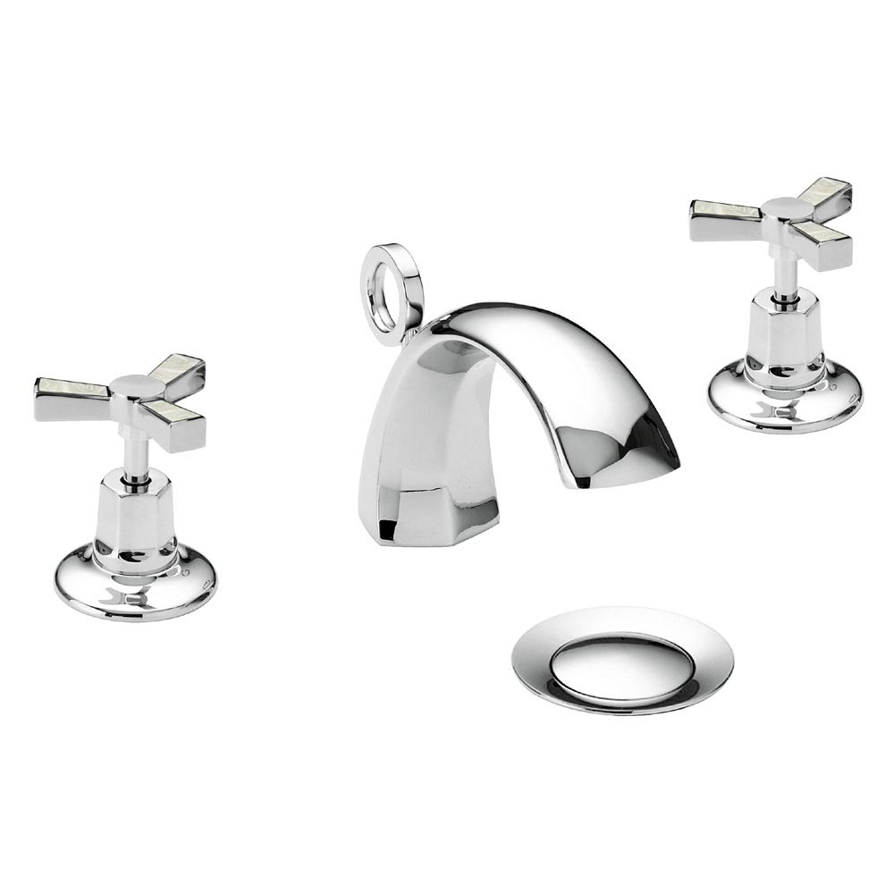 Heritage Gracechurch Mother of Pearl 3 Hole Basin Mixer with Pop-up Waste - TGRDMOP06 profile large image view 1